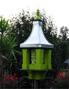 Large Wooden Bird Feeder Handcrafted Metal Roof Painted Apple With Black Trim…