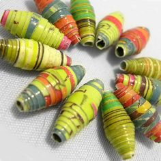 12 paper beads  Field of Flowers  by LilithEvy on Etsy, $4.75