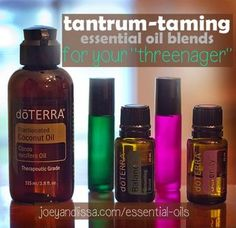 "Tantrum-taming essential oil blends great for helping ""threenagers"" calm down and focus... and great for parents of threenagers, too (for the same reasons) To purchase: www.mydoterra.com/lissasmith"