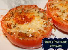 Baked Parmesan Tomatoes - Nifty Thrifty Savings Dit lyk nou sommer baie lekker yummie  met wit sterk cheddar kaas kan dit seker maar ook werk