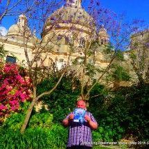 Xewkija, Gozo: In Mum garden dwarfed by the great Rotunda chuch