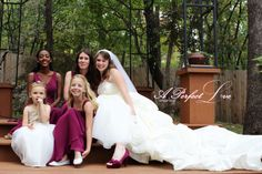a portrait with the bridesmaids, but shows off the brides dress and train as well