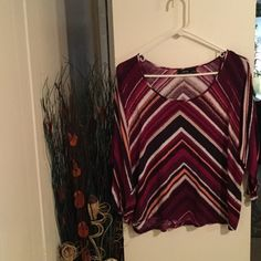 Apt. 9 Blouse Apt. 9 Blouse. GUC fabric is rayon. Purple, black, white and light pink are the colors Apt. 9 Tops