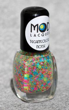 Technicolor Noise  Neon Glitter Nail Polish Mini 4ml by ModLacquer, $4.00