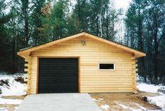 24' x 24' x 8' 1-Car Garage with Log Siding