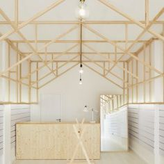 Image 1 of 19 from gallery of Glam Space / Bruno Dias arquitectura. Photograph by Hugo Santos Silva Contemporary Architecture, Interior Architecture, Timber Structure, Wood Interior Design, Shop Window Displays, Dezeen, Retail Shop, Retail Design, Visual Merchandising
