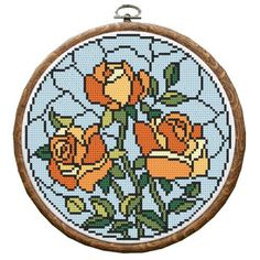 Cross stitch kit - Stained glass - Roses Cross Stitch Flowers, Cross Stitch Patterns, Stain Glass Cross, Magnolias, Stitch Kit, Stained Glass, Roses, Canvas, Prints