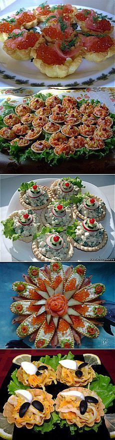 Тарталетки с вкусными начинками.