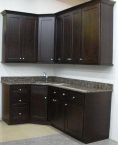 Vanity is similar style to this - dark espresso brown - shaker style doors