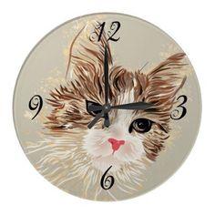Kitty Cat Wall Clock by PetsandVets  http://www.zazzle.com/kitty_cat_wall_clock-256346733045240519?rf=238346027810244797