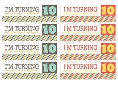 birthday tags for 10 year old Classroom Birthday Treats, Birthday Party Treats, Birthday Tags, Birthday Week, 10th Birthday Parties, Birthday Favors, Birthday Celebration, Double Digit Birthday Ideas, Boy Printable
