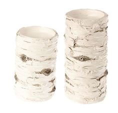 Price $34.99 Set of 2 Distressed White Tree Bark Inspired Pillar Candle Holders Raz