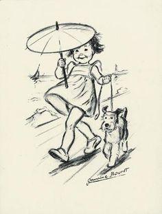 Fillette à l'ombrelle, fusain original
