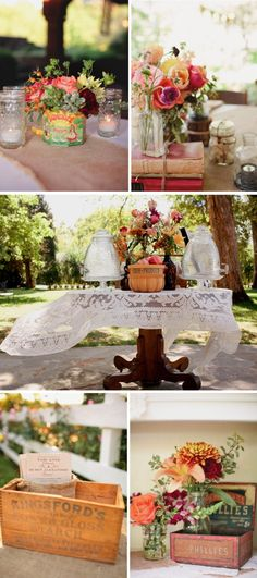 outdoor country western themed wedding colorful wedding flowers centerpieces