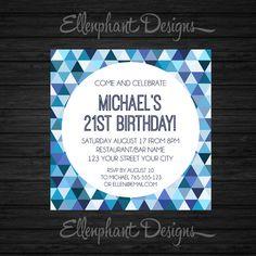 Blue Birthday Invitation, teen, 21st, 30th, 40th, 50th, boy, adult, mens, male, geometric pattern, custom invite, digital file, you print