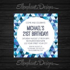 Blue Birthday Invitation, teen, 21st, 30th, 40th, 50th, boy, adult, mens, male, geometric pattern, custom invite, digital file, you print