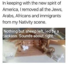In keeping with the new spirit of America, I removed all the Jews, Arabs, Africans and immigrants from my Nativity scene. Noting but sheep left, led by a jack ass. Sounds about right. American Nativity