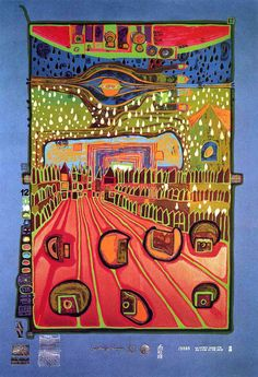 """Hundertwasser, """"Street for Survivors"""" Sheet No. 2 in the portfolio """"Look at it on a rainy day"""". Silkscreen in 17 colors, including 1 phosphorescent and 1 copper, with metal imprints in 3 colors on blue-grey paper. Format 670 x Edition of Friedensreich Hundertwasser, Gustav Klimt, Art Ancien, Guache, Paul Klee, Norman Rockwell, Outsider Art, Art And Architecture, Marker"""