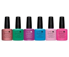 CND Shellac Art Vandal Collection Spring 2016 UV Gel Polish Set Of Package Includes: Untitled Bronze, Art Basil, Magenta Mischief, Digi-teal, Mauve Maverick & Future Fuchsia Shellac Nail Colors, Cute Nail Colors, Cnd Nails, Uv Gel Nail Polish, Uv Gel Nails, Creative Nail Designs, Creative Nails, Mauve, Magenta