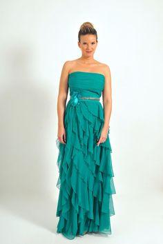Vestido largo palabra de honor en color turquesa  modelo H3007