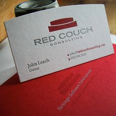 Custom Red Letterpress - Custom red letterpress card designed by Genghis Kern based out of denver. Bright red design for consulting firm red couch consulting. We acknowledge the pride in one's business and the emotion attached to major events in a person's life and strive to instill those feelings into each piece. Identity design, custom business cards, packaging, stationery, wedding invitations, birth announcements — you name it and we bring it to life.