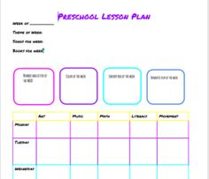 Preschool Planning Templates   Life for the Penney Wise