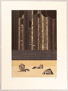 Woodblock print by Ray Morimura born 1948 Title: Futuristic Stone Garden - Ryoan-ji. Japanese Prints, Japanese Art, Japanese Singles, Japanese Painting, Garden Stones, Wood Engraving, Woodblock Print, Art Auction, Futuristic
