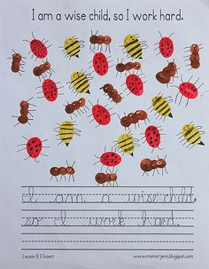 MamaJenn: They used their fingers to make ants, ladybugs, and bumble bees using to brown, yellow, and red paint. (Or, you could use a stamp pad with the required colors.) Simply dip your finger into the paint to make the body of the insects. Once the paint is dry, use a black pen or marker to add details.