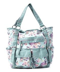 Another great find on #zulily! Mint & Pink Floral Two-Handle Tote by T-Shirt & Jeans #zulilyfinds