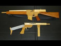 Wooden Blyskawica and M16 rubber band shooters.