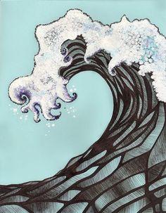 Surfs Up?, via Flickr. white out, black ink, and blue ink.