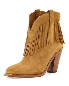 New+Western+Fringe+Bootie,+Tan+by+Saint+Laurent+at+Neiman+Marcus.