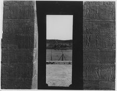 View from the gateway of the Temple of Dendur, looking towards the Nile. Photo by the Center of Documentation of Egyptian Antiquities, no date  http://www.metmuseum.org/about-the-met/curatorial-departments/egyptian-art/temple-of-dendur-50/architecture