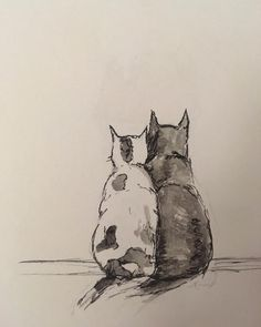 Just a little drawing of some cats #cats #illustration #art #draw #pen #watercolour