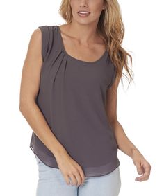 Look at this Pinkblush Charcoal Cap-Sleeve Top - Women on #zulily today!