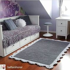 Dywan x Tapis (Rug. - Things to do w/the weird room upstairs. Beige Carpet, Diy Carpet, Rugs On Carpet, Cheap Carpet, Crochet Mat, Crochet Carpet, Knit Rug, Vintage Home Accessories, Doily Rug