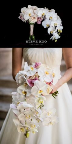 Beautifully unique orchid wedding bouquet. -Steve Koo Photography. See more wedding bouquets and inspiration at https://stevekoophotography.com/