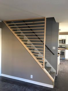 Great alternative way for finishing up the stair. Credits to my fellow Rehaber P… Great alternative way for finishing up the stair. Credits to my fellow Rehaber Penny Goodenough from PM Property Solutions LLC out of Buffalo NY Staircase Railings, Staircase Design, Stairways, Banisters, Handrail Ideas, Diy Stair Railing, Stair Handrail, Basement Stairs, House Stairs