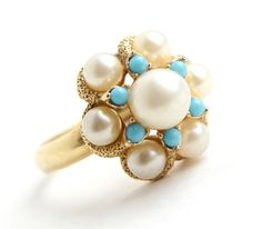 Vintage Faux Pearl & Turquoise Ring - Signed Avon Statement Gold Tone Adjustable 1970s Jewelry / 1972 Luster