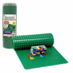 Roll up mat with one side for Legos and one side for duplos
