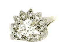 Art Retro 14K White Gold Diamond Ring