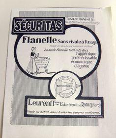 PUBLICITE ANCIENNE PUB ADVERT CLIPPING 010716 SECURITAS FLANELLE LEURENT FRERES | eBay