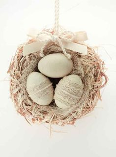 Easter Eggs Door Hanger, Bird Nest with Three Easter Eggs, Cottage Chic Decor, Pastel Color Home Decor