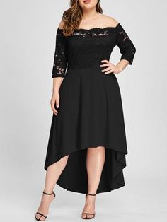 3c05e008926dc Women Party Dress Plus Size Off Shoulder Dip Hem Lace 3 4 Length Sleeves  Dress Asymmetrical Elegant Vestidos Big Size