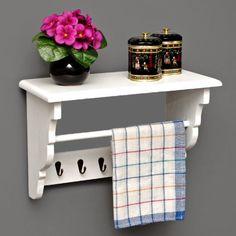 Küchenregal Küchenboard mit Handtuchhalter Landhaus Stil Wand Regal Weiß