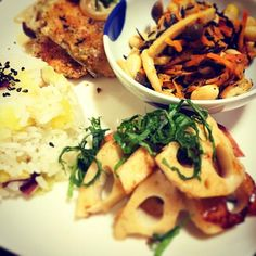 秋味ご飯❤ - 10件のもぐもぐ - 鮭のパン粉焼き❤ペペロンレンコン❤さつまいもご飯❤ヒジキの煮物 by riri0308