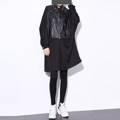 New 2016 European Woman Autumn Dress Solid Black Color Long Sleeve Fake Jacket PU Patch Zipper Loose Women Vestidos Style 637 - Black