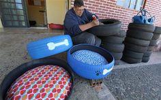 Para driblar a crise econômica e, ao mesmo tempo, dar uma destinação ecológica a pneus velhos, o ex-vendedor Hilton Ferreira, de Ponta Grossa, resolve
