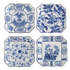 Andrea By Sadek 4 Asst. Square Plates Blue & White: Kitchen & Dining: Amazon.com
