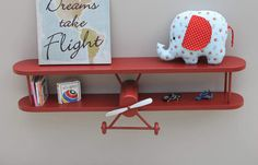 Airplane Shelf, 3 ft long, plane, pilot, aircraft decor. Baby nursery, kids room, or airplane enthusiast. Painted color of choice.